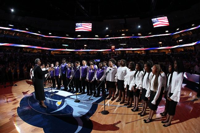 CCMS Choir performing at the Memphis Grizzlies game